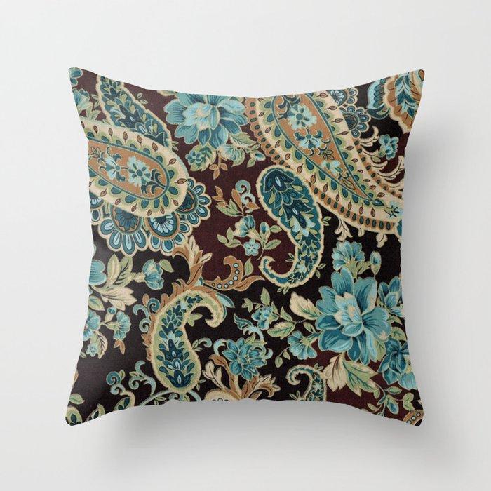 Brown Turquoise Paisley Throw Pillow