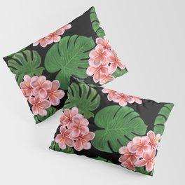 Tropical Floral Print Black Pillow Sham