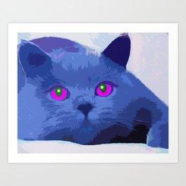 Pop art blue cat Art Print