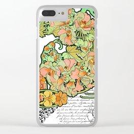 Romance in Paris, Art Nouveau Floral Nostalgia Clear iPhone Case
