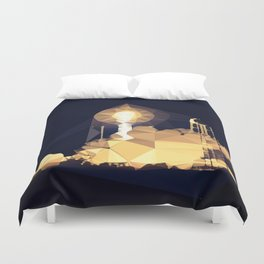 Rocket Ship Takeoff Low Poly Geometric Triangles Duvet Cover