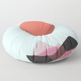 Minimalist Red Moon Lunar Eclipse with Mountains Floor Pillow
