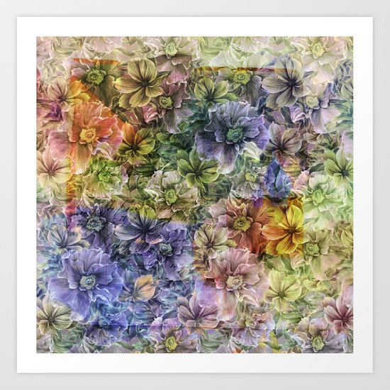 Floral painterly pattern Art Print