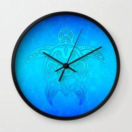 Ocean Blue Tribal Turtle Wall Clock