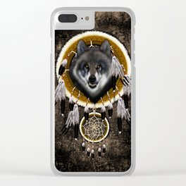 Indian Native Gray Wolf Dreamcatcher iPhone 4 5 6 7, ipod, ipad, pillow case and tshirt Clear iPhone Case