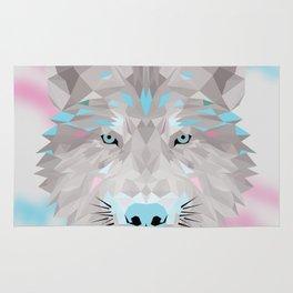 Silver wolf Rug