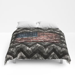 Urban Digital Camo Pattern with American Flag Comforters