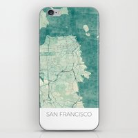 san francisco map iPhone & iPod Skins featuring San Francisco Map Blue Vintage  by City Art Posters