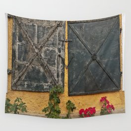 Old house with red roses Wall Tapestry