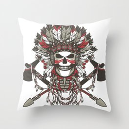Red Indian Skull Throw Pillow