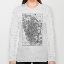 Vintage Map of Liverpool England (1890) BW Long Sleeve T-shirt