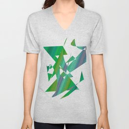 geometrical abstract shapes of green and blue Unisex V-Neck