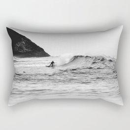 Black and White Surfer Print Rectangular Pillow