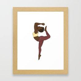 Calm Yellow African Yogi in Kemetic Yoga Pose Framed Art Print