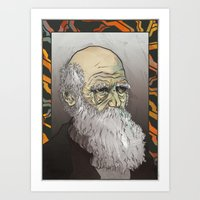 darwin Art Prints featuring Darwin by The Dead Sea Society