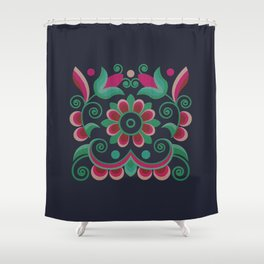 Grace Embroidered Flowers Shower Curtain