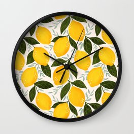 Mediterranean Summer Lemons Pattern Wall Clock