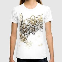 Curlicue Kringel Flowers T-shirt