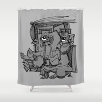 gnome Shower Curtains featuring Gnome by 5wingerone