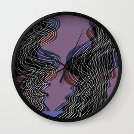 Parallel Lines No.: 02. in Purple - Shifted - White Lines Wall Clock
