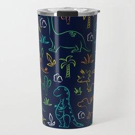 Cute cartoon dinosaur pattern on navy background Travel Mug