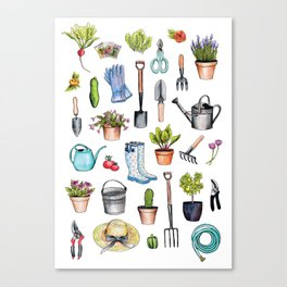 Garden Gear - Spring Gardening Pattern w/ Garden Tools & Supplies Canvas Print
