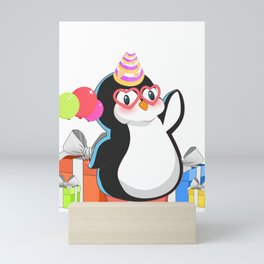 Lovely Cute Penguin With Party Hat Birthday Gift T Shirt Mini Art Print