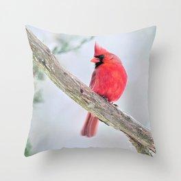 "Cardinal: ""Do You Hear What I Hear?"" Throw Pillow"