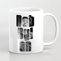 woodstock Mugs featuring Bob Dylan Font Black And White by Fligo