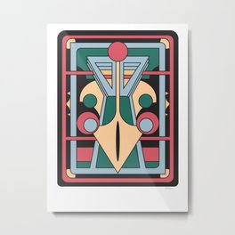 Pavo Totem - Art Deco Peacock Design Metal Print