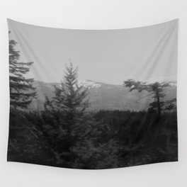 Snow Cap Mountain black and white Wall Tapestry