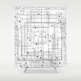 Black and white abstract geometric pattern Shower Curtain