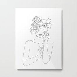 Dame fleur-Floral Illustration | Single Line Sketch, Woman Wall Art Peony Art Metal Print
