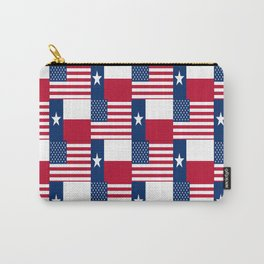 Mix of flag : Usa and Texas Carry-All Pouch