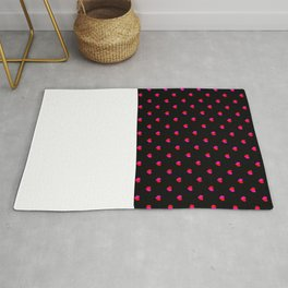 Valentines Day Hearts love gift cute gift for him or her gender neutral pink black red heart pattern Rug