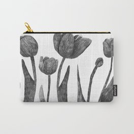 Graphite Tulips Carry-All Pouch