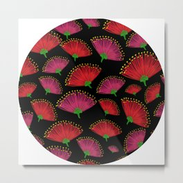 Pohututkawa on a Black Background Metal Print