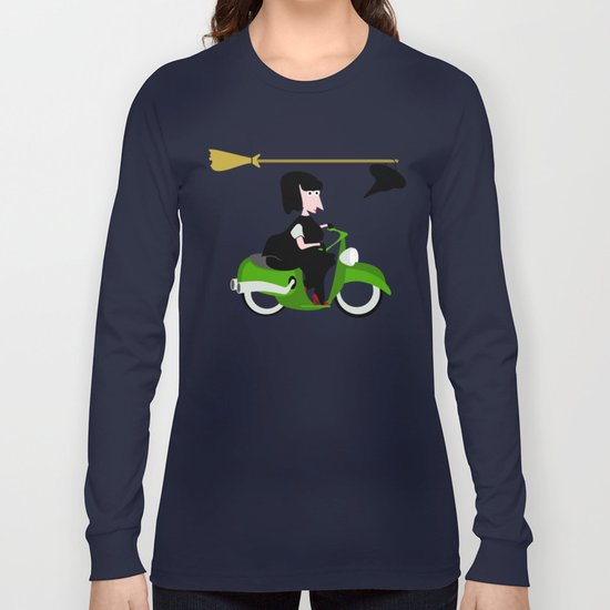 Witch Riding a Green Moped Long Sleeve T-shirt