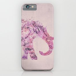 Pink Elephant Mixed Media Art iPhone Case