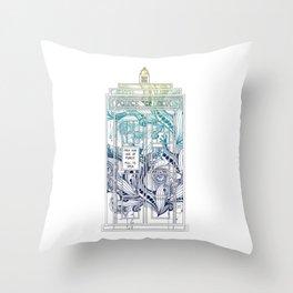 Mandala police box Throw Pillow