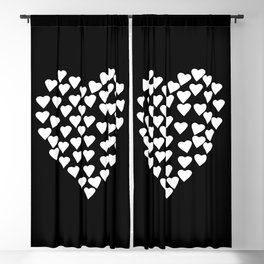 Hearts on Heart White on Black Blackout Curtain