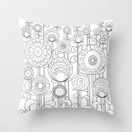 Flower Garden BW Throw Pillow