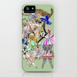 Animal Ballet Hipsters - Green iPhone Case
