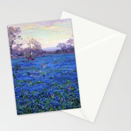 Bluebonnets at Twilight, mountain-desert landscape painting by Robert Julian Onderdonk Stationery Cards