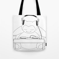 snorlax Tote Bags featuring Snorlax Eats Bass by mattdawg8