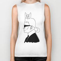 karl Biker Tanks featuring Karl & Choupette by cvrcak