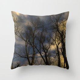 Enchanting Nighttime Trees and Sky Throw Pillow