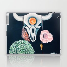Cow Skull and Cacti on a Wolf Blood Moon Laptop & iPad Skin