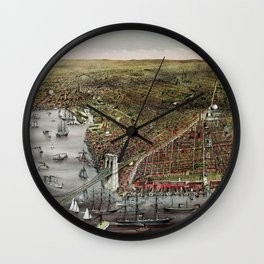 Vintage 19th Century Currier & Ives Brooklyn Lithograph Wall Art in color Wall Clock