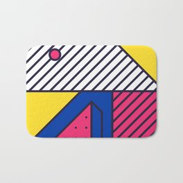 Festive Background in Neo Memphis Style Colorful Decorative pattern Bath Mat